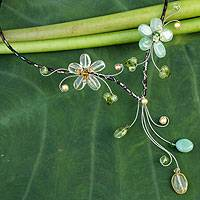 Peridot and citrine choker, 'Precious Blossoms' - Handcrafted Peridot and Citrine Choker