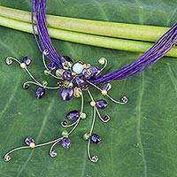 Amethyst and peridot choker, 'Floral Joy' - Hand Made Floral Amethyst Necklace