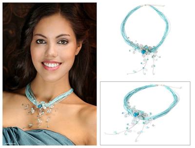 Quartz and aquamarine choker, 'Floral Joy' - Floral Quartz Necklace