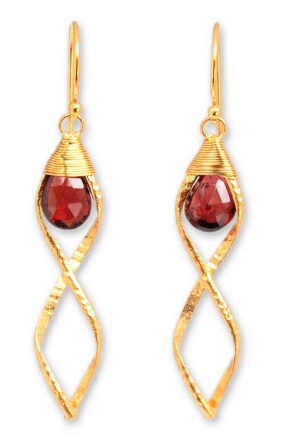 Gold vermeil garnet dangle earrings, 'Whirlwind' - Handcrafted Vermeil and Garnet Dangle Earrings