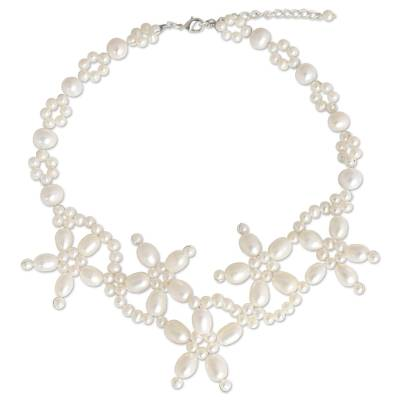 Cultured pearl flower choker
