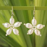 Cultured pearl flower earrings, 'Dreams and Memories' - Cultured Pearl Flower Earrings