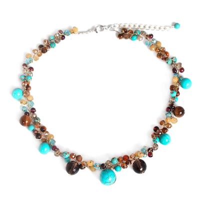 Tiger's eye beaded choker, 'Autumn River' - Handmade Beaded Multigem Necklace