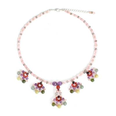 Beaded gemstone necklace, 'Lily Bouquet' - Floral Beaded Multigem Necklace
