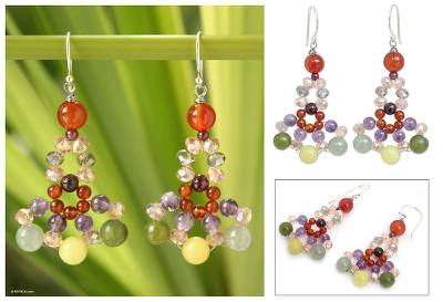 Carnelian and amethyst beaded earrings, Lily Bouquet