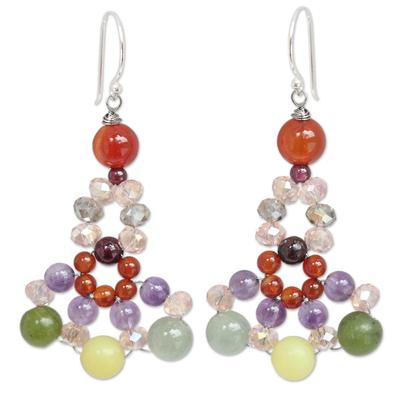 Handmade Beaded Carnelian and Amethyst Earrings