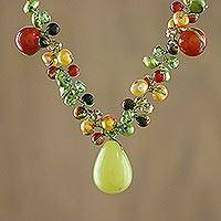 Cultured pearl and carnelian choker, 'Sunshine River' - Multigem Pearl and Carnelian Choker from Thailand