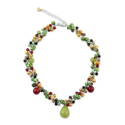 Cultured pearl and carnelian choker, 'Sunshine River' - Pearl and Carnelian Choker