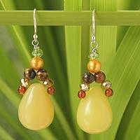 Serpentine and carnelian dangle earrings, 'Sunshine River' - Serpentine and Pearl Dangle Earrings
