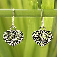 Sterling silver heart earrings, 'Star Hearts' - Sterling Silver Dangle Earrings
