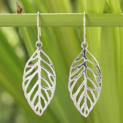Sterling silver dangle earrings, New Leaf