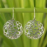 Sterling silver flower earrings, 'Dandelions' - Hand Made Floral Sterling Silver Dangle Earrings
