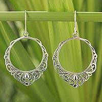 Sterling silver dangle earrings, 'Songkran Moon' - Handmade Sterling Silver Dangle Earrings