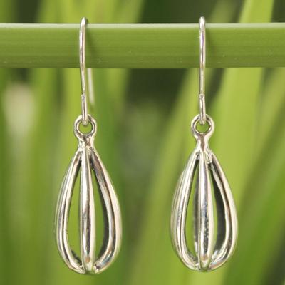 Sterling silver dangle earrings, 'Birdcage' - Modern Sterling Silver Dangle Earrings