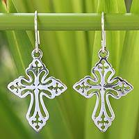 Sterling silver dangle earrings, 'Holy Cross' - Thai Sterling Silver Cross Cut-Out Dangle Earrings