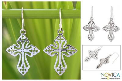 Sterling silver dangle earrings, 'Holy Cross' - Sterling Silver Dangle Earrings