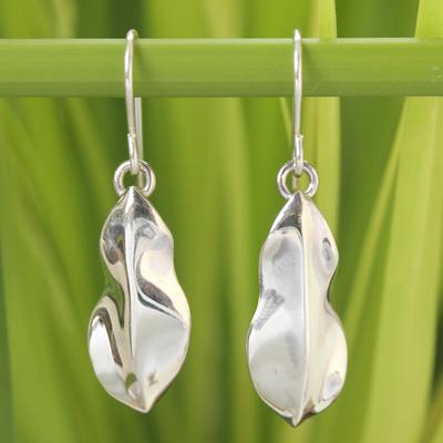 Sterling silver dangle earrings, 'Forest Leaf' - Sterling Silver Dangle Earrings