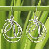 Sterling silver dangle earrings, 'Twirling Ribbons' - Handmade Modern Sterling Silver Dangle Earrings