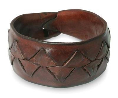 Men's leather wristband bracelet, 'Ayutthaya Brown' - Men's Leather Wristband Bracelet