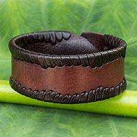 Men's leather wristband bracelet, 'Thai Wrap' - Men's Fair Trade Leather Wristband Bracelet