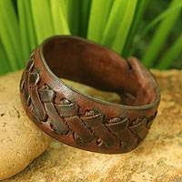 Men's leather wristband bracelet, 'Chiang Rai Paths' - Men's Hand Crafted Leather Wristband Bracelet