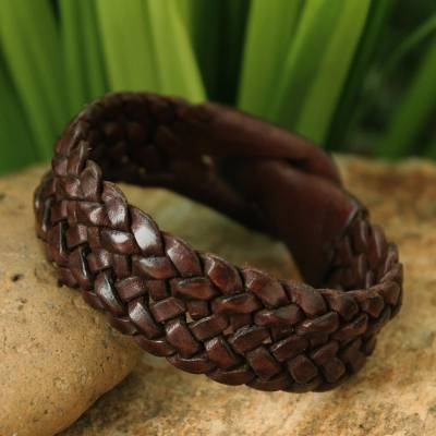 Leather wristband bracelet, 'Bangkok Weave' - Men's Handmade Wristband Bracelet in Woven Leather by Fair T