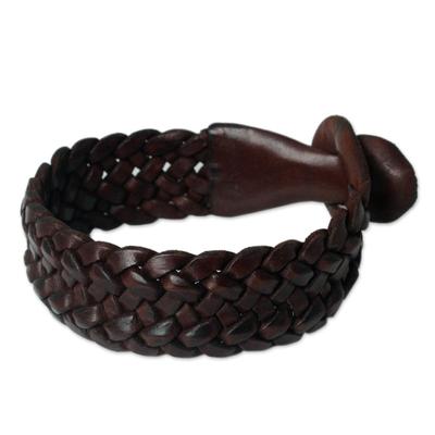 Leather wristband bracelet, 'Bangkok Weave' - Handmade Unisex Leather Wristband Bracelet