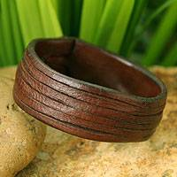 Leather wristband bracelet, 'Many Rivers'