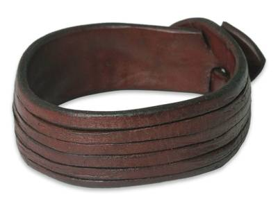 Leather wristband bracelet, 'Many Rivers' - Brown Leather Wristband Bracelet