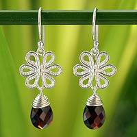 Garnet flower earrings, 'Precious Petals' - Garnet flower earrings