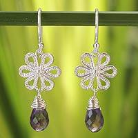 Amethyst flower earrings, 'Precious Petals' - Amethyst flower earrings