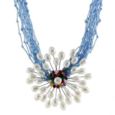 Cultured pearl and quartz flower necklace, 'Bold Blue Marigold' - Pearl and Quartz Flower Necklace