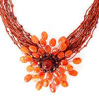 Carnelian and garnet flower necklace, 'Bold Marigold' - Unique and Handcrafted Medallion Necklace
