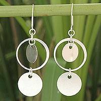 Sterling silver dangle earrings, 'Moonlight Charm' - Fair Trade Sterling Silver Dangle Earrings