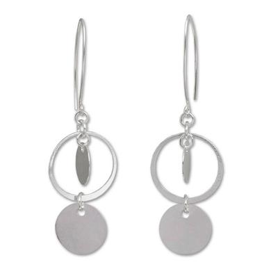 Sterling silver dangle earrings, 'Moonlight Charm' - Fair Trade Sterling Silver Dangle Earrings