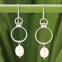 Cultured pearl dangle earrings, 'Exquisite White'