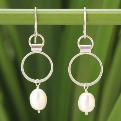 Cultured pearl dangle earrings, 'Exquisite White' - Handcrafted Thai Sterling Silver and Pearl Earrings