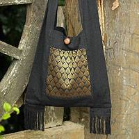Cotton sling bag, 'Golden Lotus'