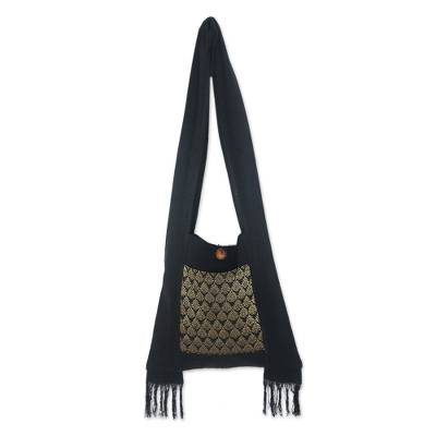 Cotton sling bag, 'Golden Lotus' - Brocade and Black Cotton Sling Bag