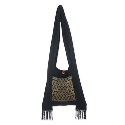 Brocade and Black Cotton Sling Bag