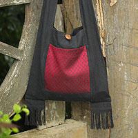Cotton sling bag, 'Crimson Lotus' - Cotton Sling Handbag from Thailand