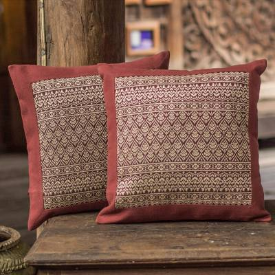 Cotton cushion covers, Brown Lotus (pair)