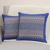 Cotton cushion covers, 'Thai Iris' (pair) - Cushion Covers from Thailand (Pair)