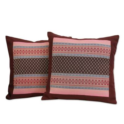 Cotton cushion covers, 'Bangkok Brown' (pair) - Cotton cushion covers (Pair)