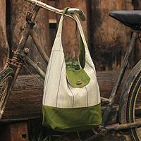 Cotton shoulder bag, 'Joyful Olive Green' - Hand Crafted Thai Cotton Shoulder Bag