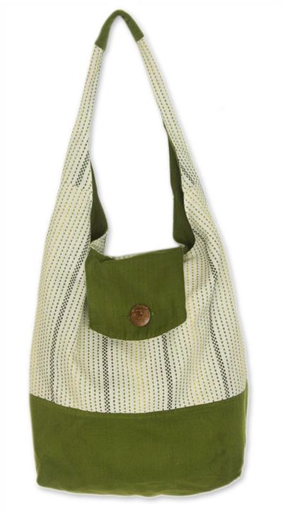 Novica Cotton shoulder bag, Joyful Blue