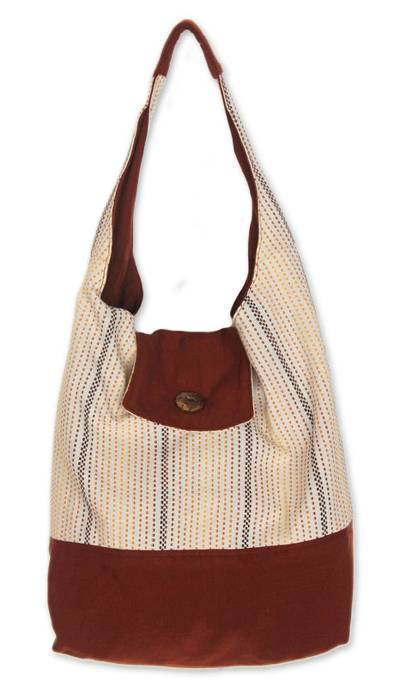 Artisan Crafted Cotton Striped Flap Handbag