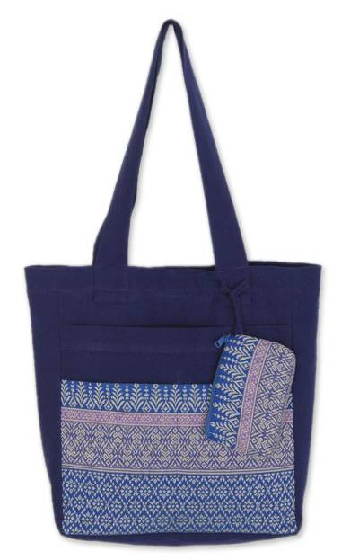 Floral Cotton Tote Bag with Embroidered Coin Purse