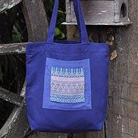 Cotton tote handbag, 'Chiang Mai Hyacinth' - Unique Cotton Embroidered Shoulder Bag