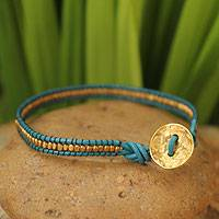 Leather and gold plate wristband bracelet, 'Golden Azure'